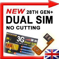 NEW 3G/UMTS dual/twin SIM card adaptor NO CUTTING   UK