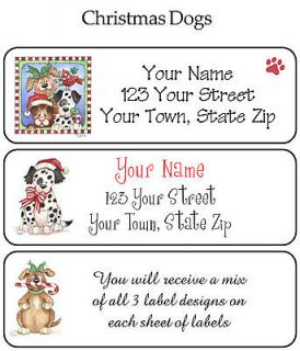 CHRISTMAS DOGS or CATS ADDRESS LABELS   Buy ANY 5, Get 1 FREE
