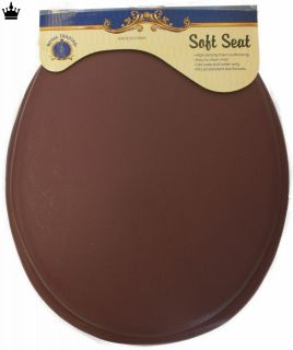 Round Bathroom Toilet Seat Brown Soft Padded