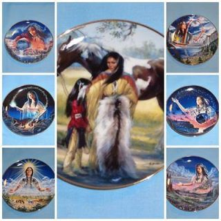 Native American Indian Heritage Collection 7 Franklin Mint Plates Trmd