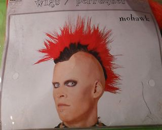 Mohawk Bright Neon Red Wig Party Costume Punk Rock Rocker Fun Dress Up