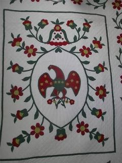 VINTAGE APPLIQUE ANTIQUE EARLY AMERICAN EAGLE COMPLETED KIT QUILT