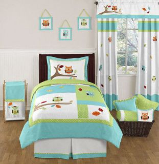 DESIGNS TURQUOISE BLUE LIME GREEN OWL BOY GIRL KID TWIN BEDDING SET