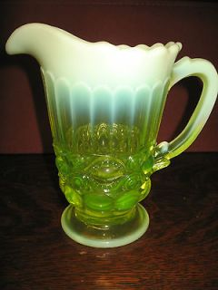 vaseline Opalescent Glass water serving Pitcher eyewinker Pattern