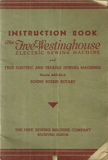 Free Westinghouse Electric Sewing Machine Instruction Book Manual 1934
