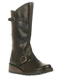 MES DARK BROWN FLY LONDON WOMENS LEATHER MID CALF BOOTS