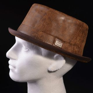 Mentari Hats Leather Pork Pie Hat High Quality Club Accessory Genuine