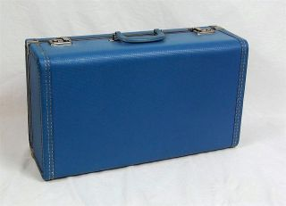VINTAGE Mid Century Blue Hard side Suitcase