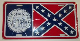 Real Georgia Rebel Confederate Flag Metal License Plate Auto Car Tag 6