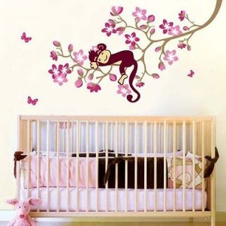 Monkey & Pink Flower Blossom Tree Reusable Wall stickers Girl Kid