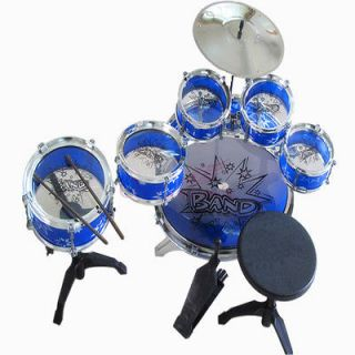 11 Pcs Kids Drum Set Children Toy Music Band Blue