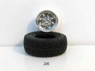 Four  1/20 4x4 pickup truck wheels (rims) and tires  model kit parts