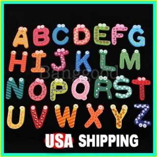 26 A Z Letters Alphabet Wooden Fridge Magnet Baby Kids Educational