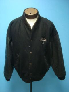 Coca Cola Black Wool & Leather Varsity Men Coat Jacket