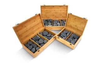 Naturally Shaped Massage Basalt Hot Stones Set W/ Optional Bamboo Box