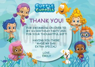 Guppies Personalized Birthday Thank You Card Digital File, You Print