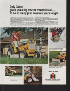 FA 1968 INTERNATIONAL CUB CADET LAWN MOWER TRACTOR PLOW AD