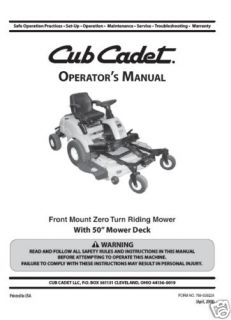 Cub Cadet Front Mount ZeroTurn Lawn Mower Model FMZ 50