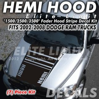 Dodge Ram 1500 2500 3500 Truck HEMI HOOD Stripe Stripes Decal Decals