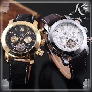 Luxury KS Automatic Mechanical Tourbillon Date Day Men Watch