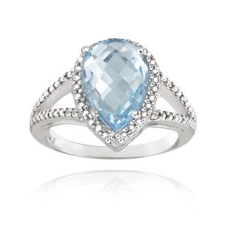925 Silver 3.7ct Blue Topaz & Diamond Accent Teardrop Ring