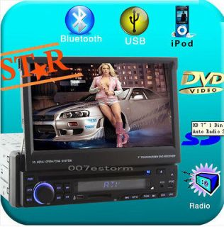 Single 1 Din HD 7 Touch Screen Car Stereo DVD Player Radio TV BT Ipod