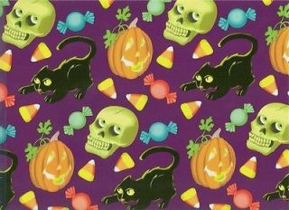 JACK O LANTERN​S BLACK CATS HALLOWEEN ROLLED GIFT WRAP PAPER