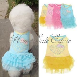 Pet Cat Dog Puppy Heart Party Wedding Princess Clothes Dress Skirt XS