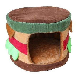 Hamburg Shaped Pet Dog Cat Tent House Bed Kennel Puppy Small Brown