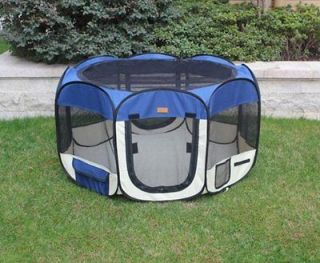 New Small Navy Blue Pet Dog Cat Tent Playpen Exercise Play Pen Soft