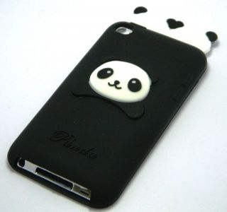 Apple iPod Touch 4 4th Generation Black Panda Bear Silicone Cover Case