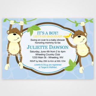 20 Monkey Swing Jungle Fun Baby Shower Invitations