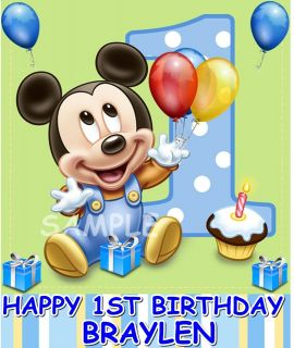 BABY MICKEY MOUSE 1ST BIRTHDAY EDIBLE CAKE TOPPER DECORATIONS IMAGE