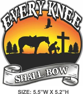 Praying at Cross Sticker Decal Every Knee Shall Bow Christian Horse