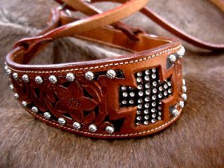 HORSE EQUINE NOSEBAND BARREL RACING BLING CARVED TACK BLING CROSS