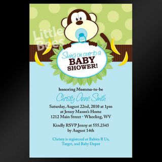 Jungle Swing Monkey Birthday Baby Shower Invitations   Set of 10   Any