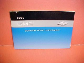 2003 ORIGINAL GMC TRUCK DURAMAX DIESEL ENGINE OWNERS SERVICE MANUAL