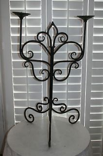 Ornate Art Deco Wrought Iron Floor Standing Candelabra Candle Holder