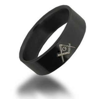 Tungsten Carbide 8MM Black Freemason Masonic Ring   Size 11.5   TG015