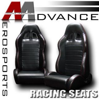 & Red Stitch Racing Bucket Seats+Sliders Ford (Fits Ford Ranger