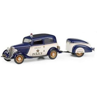 Franklin Mint 1933 Ford Deluxe Tudor Police Car with Trailer   LE
