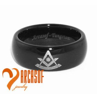 MENS 8MM BLACK TUNGSTEN CARBIDE FREEMASON MASONIC RING