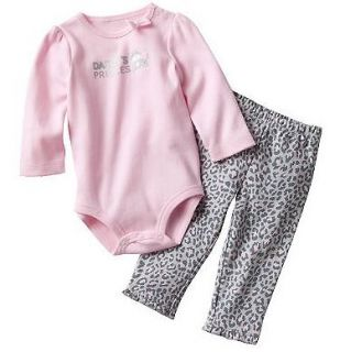 NWT Carters Baby Girl Clothes 2 Piece Set Pink Print Kitty 3 6 9 12 18