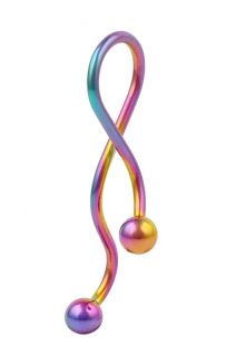 Rainbow Anodized Steel Super Spiral Twister Unique Titanium Belly Ring