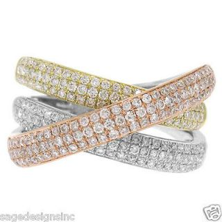 14KT Tri Color Rose White Yellow Gold Diamond Criss Cross Bridge Ring