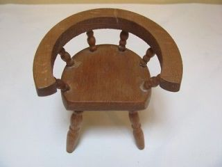 Spindle Captain Chair Wooden Vintage Dolhouse Doll House Dark Wood
