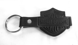 Harley Davidson Black Leather Key Fob Bar & Shield Unisex