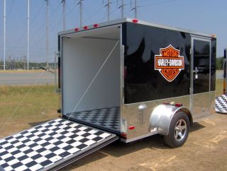 cargo motorcycle 2 bike trailer 7x10 finished Harley Davidson decals