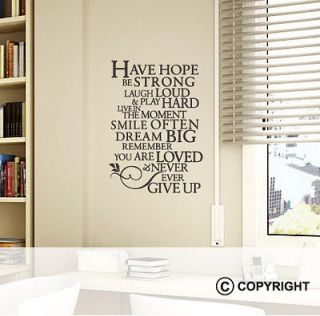 Removable Wall Vinyl Sticker Quote   Have Hope Be Strong Dream Big