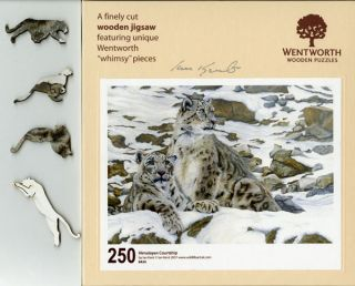 Wentworth Wooden Jigsaw Puzzle (Snow Leopards) Himalayan Courtship